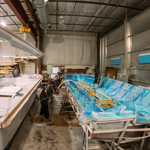 construction of a hull at hells bay warehouse
