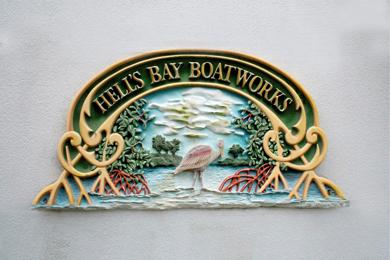 hells bay boatworks sign